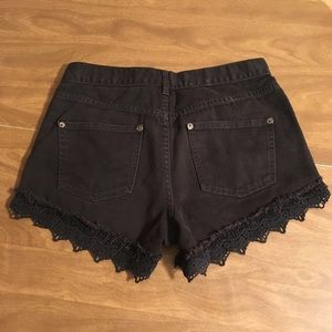 Free People Shorts - Free People Black Denim Lace Trimmed Shorts 26